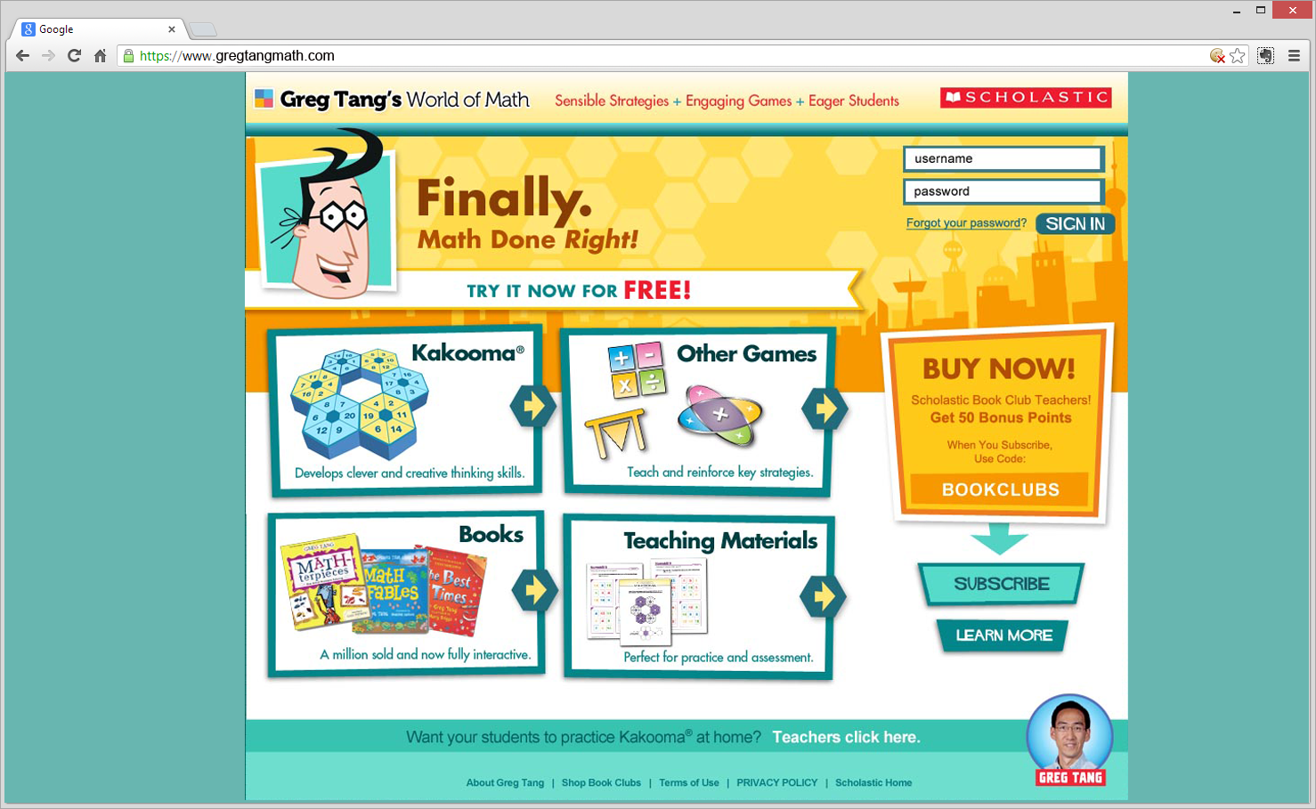 Greg Tang Math Teacher Website